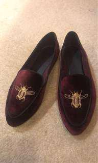 *Free with purchase - Zara embroidered brogues size 37 - burgundy