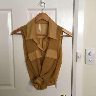 Size 10 chiffon mustard button up
