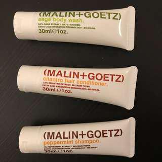 Malin + Goetz (shampoo, conditioner, body wash)