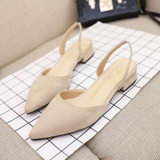 Nude flat with low chunky heels