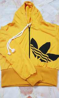 Adidas Hoody Long Sleeve Jacket Set w Pants in Yellow