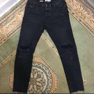 Topman Skinny Patched Jeans