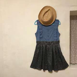 單寧拼接傘狀洋裝 小隻女洋裝 點點裙