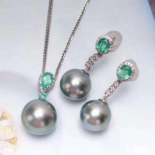 大溪地灰色珍珠祖母綠鑽石耳吊墜Tahiti gray pearl earring & pendant