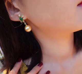 南洋金色珍珠祖母綠耳環藍寶石鑽石吊墜south sea golden pearl emerald earring & blue sapphire diamond ring