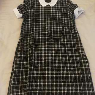 ZARA DRESS CHECKERED TEBAL BLACK AND WHITE WITH COLLAR DOLL STYLE