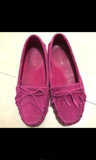 🚚 正韓桃紅凥皮莫卡辛豆豆鞋