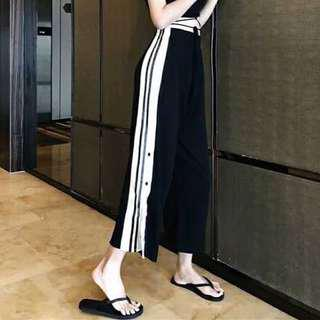 Side strips wide trousers with slit