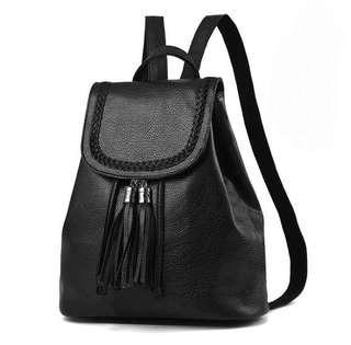 黑色實用背包 皮包 背包 書包 backpack