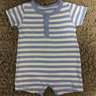 Pastel Blue Striped Onesie for 12mos