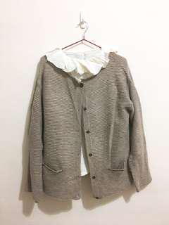 🚚 sm2 暖灰色針織外套