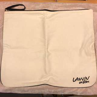 減價!Lanvin enBleu Canvas big clutch 帆布袋