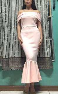 Mermaid dress off shoulder bodycon peach