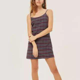 Plaid Checkered Slip On Overall Dress!