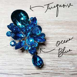 Crystal Brooch (Blue & Turquoise)