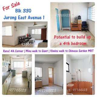 ⭐ 4A Corner Unit⭐ Blk 330 Jurong East Avenue 1