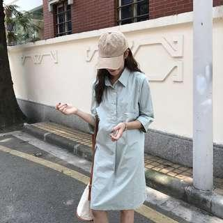 Korean Green Dress collar shirt long style shift dress cute pretty #mcsfashion
