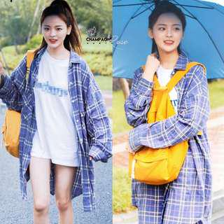 Korean Oversized BF Jacket checkers plaid outerwear top shirt long blue purple #mcsfashion
