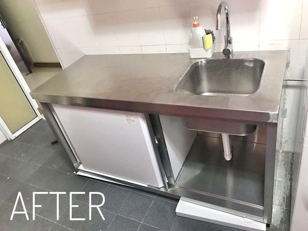 304 Grade Stainless Steel Kitchen Sink And Cabinet Home Appliances Kitchenware On Carousell