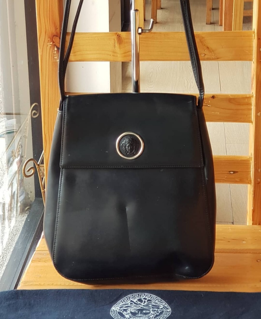5080012bde Authentic Gianni Versace Black Smoothe Genuine Leather Flap Double ...