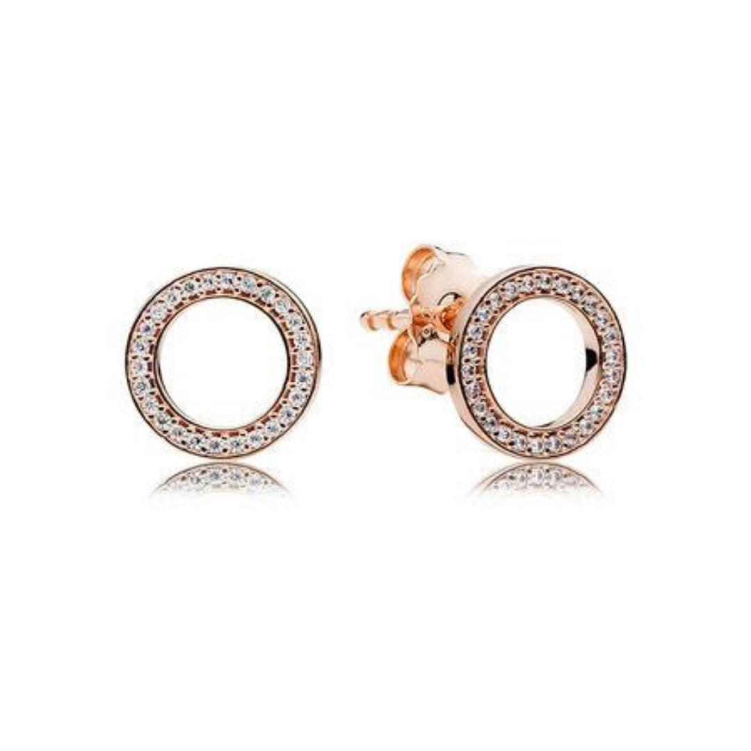 af41f53a4 Authentic Pandora Earrings PANDORA Signature Stud Earrings Rose Gold with Cubic  Zirconia 92.5 Sterling Silver Women's Earrings (NOT PAWNABLE) on Carousell
