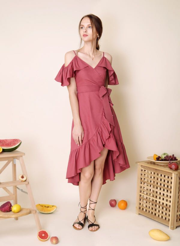 bcb3e5b162a0 AWD MESMERISE COLD SHOULDER RUFFLE DRESS (RASPBERRY)