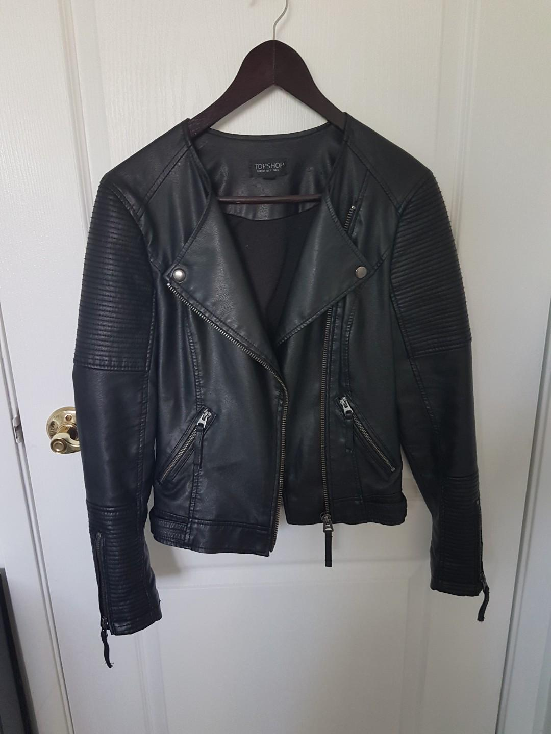 Black Leather Jacket from Topshop
