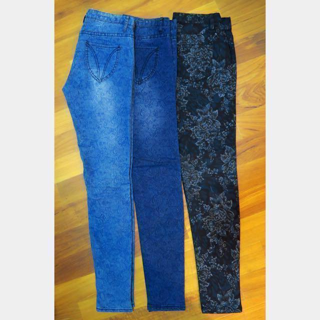 BN Subtle Floral Low Rise Skinny Jeans