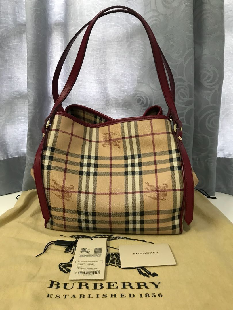 c380fcb90d25 Burberry Haymarket Canterbury Tote in Military Red