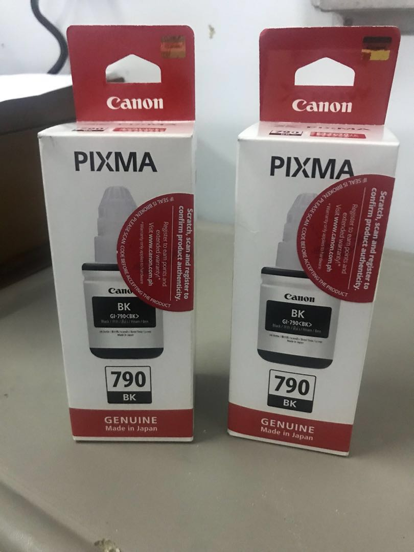 Canon Gi 790 Black And Cyan Original Ink Bottle Electronics Tinta Ori For Printer G1000 G2000 G3000 Computer Parts Accessories On Carousell