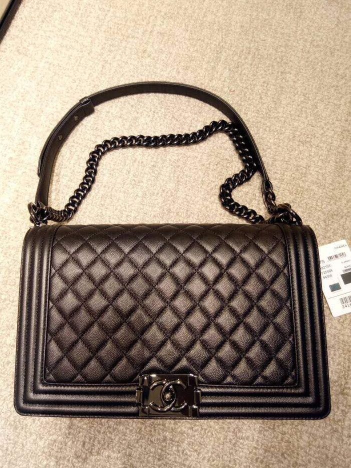 40d24fc3ee73 Chanel boy so black new medium, Luxury, Bags & Wallets, Handbags on ...