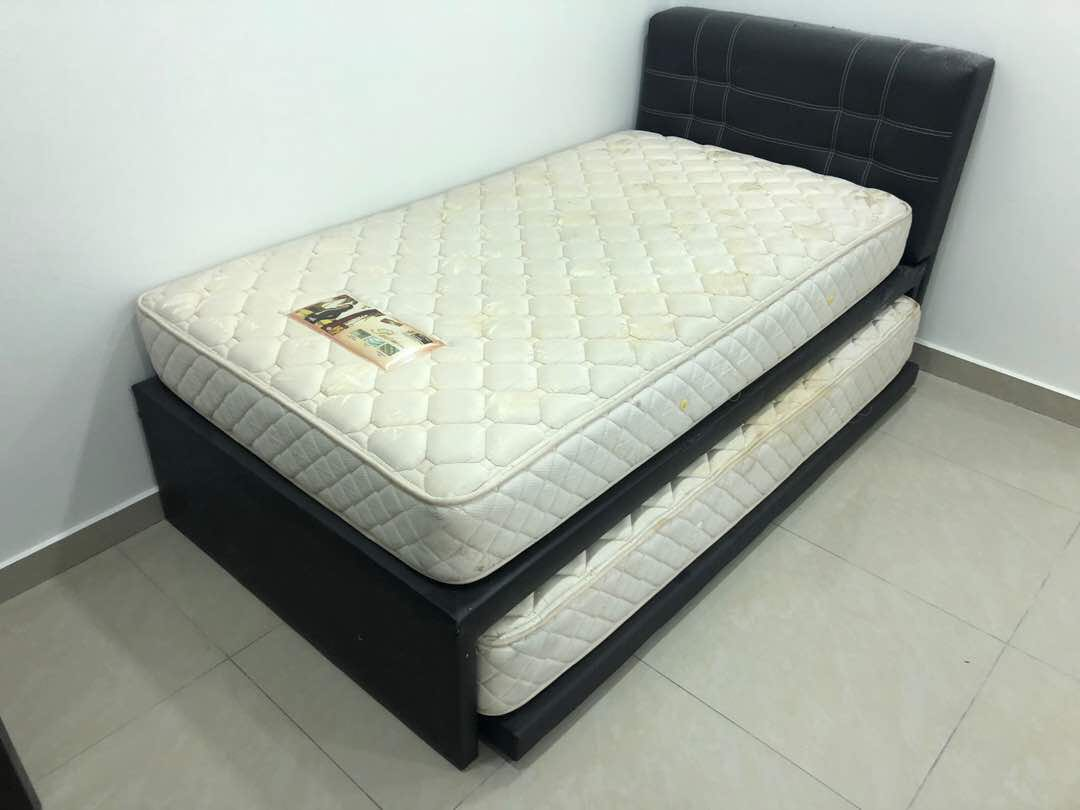 Bon Double Single Bed With 2 Mattress, Home U0026 Furniture, Furniture On Carousell