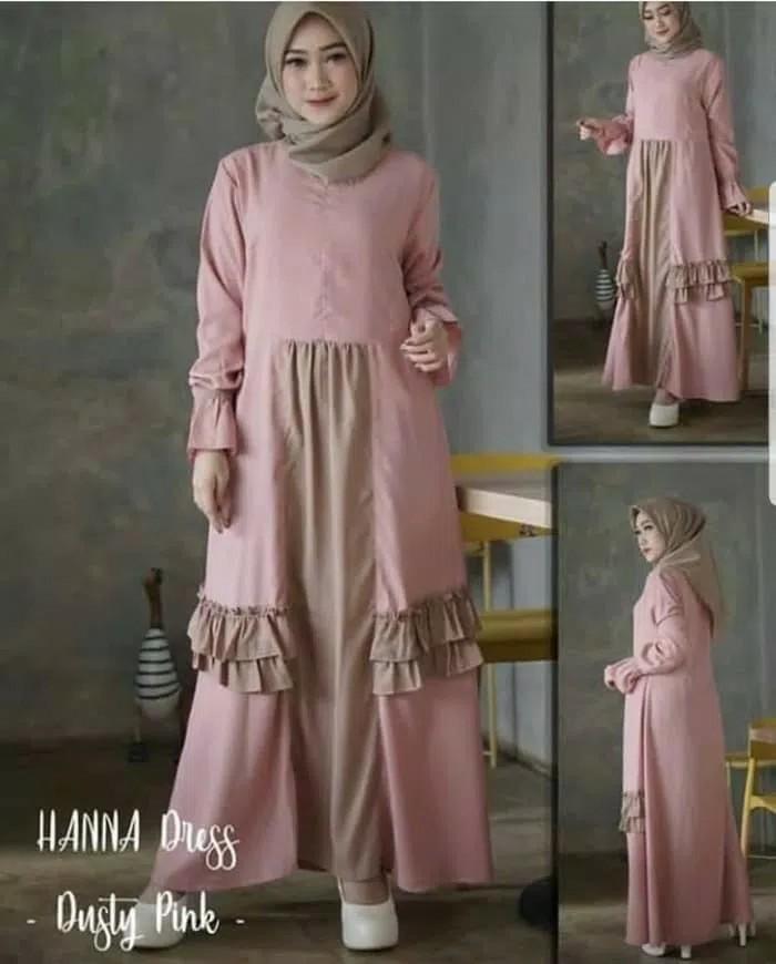 HANNA DRESS DUSTY PINK l atasan fashion baju muslim gamis rumbai gamis pink wanita