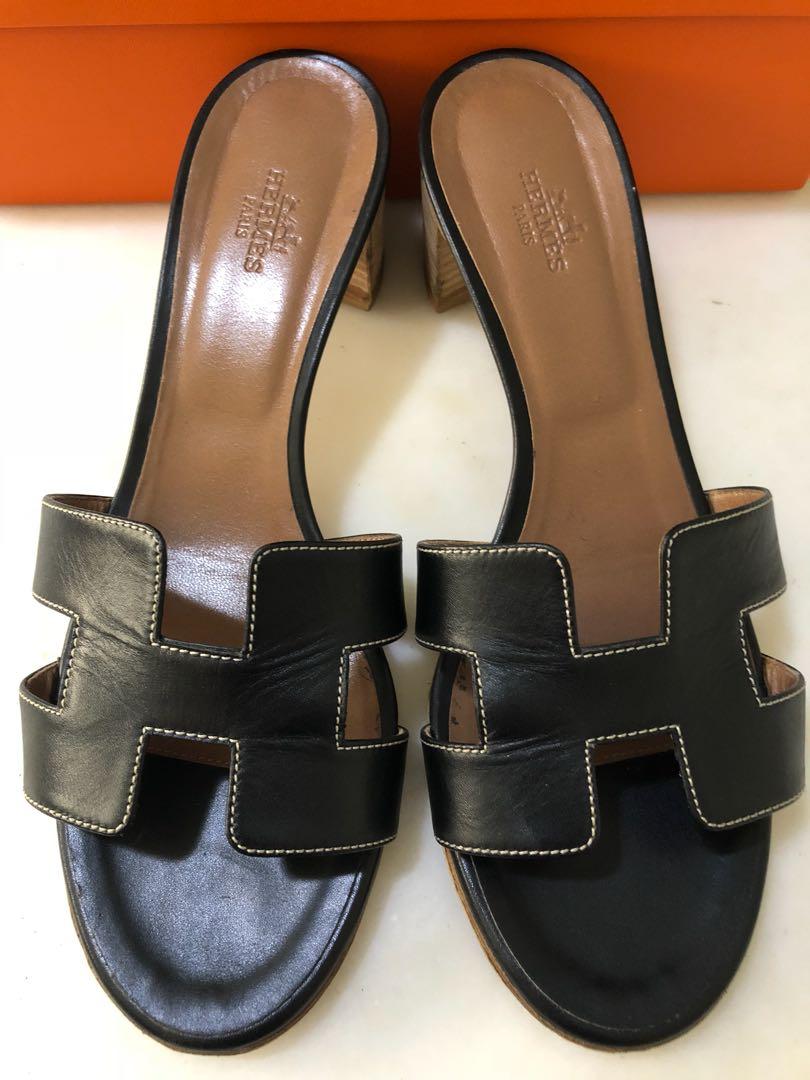 9df3fbaa8055 Hermes Oasis Sandals Noir 38.5