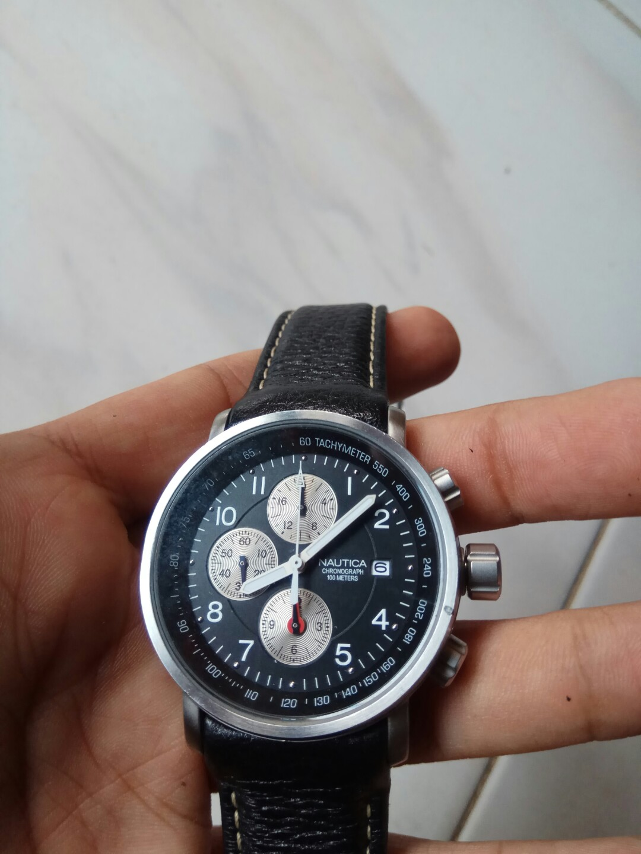 Harga Jual Jam Tangan Nautica 800000 Pria Cowok Merk A20062g Strap Leather Black Chronograph Preloved Fesyen Di Carousell