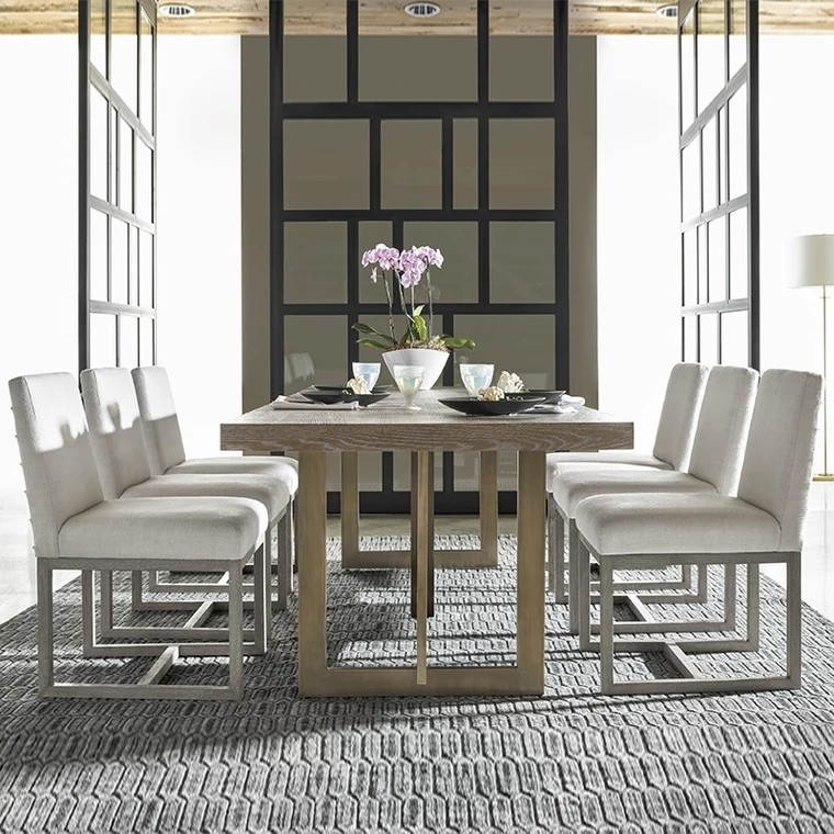 Custom Made Modern Solid Wood Dining Table With Gold Frame