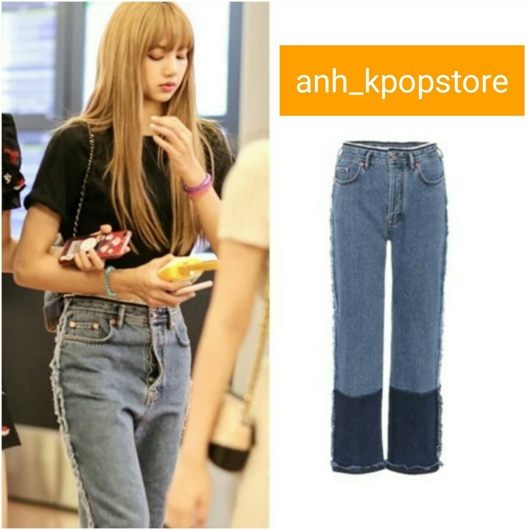 Po Blackpink Lisa Double Mixed Pants Jeans Anh Apparel