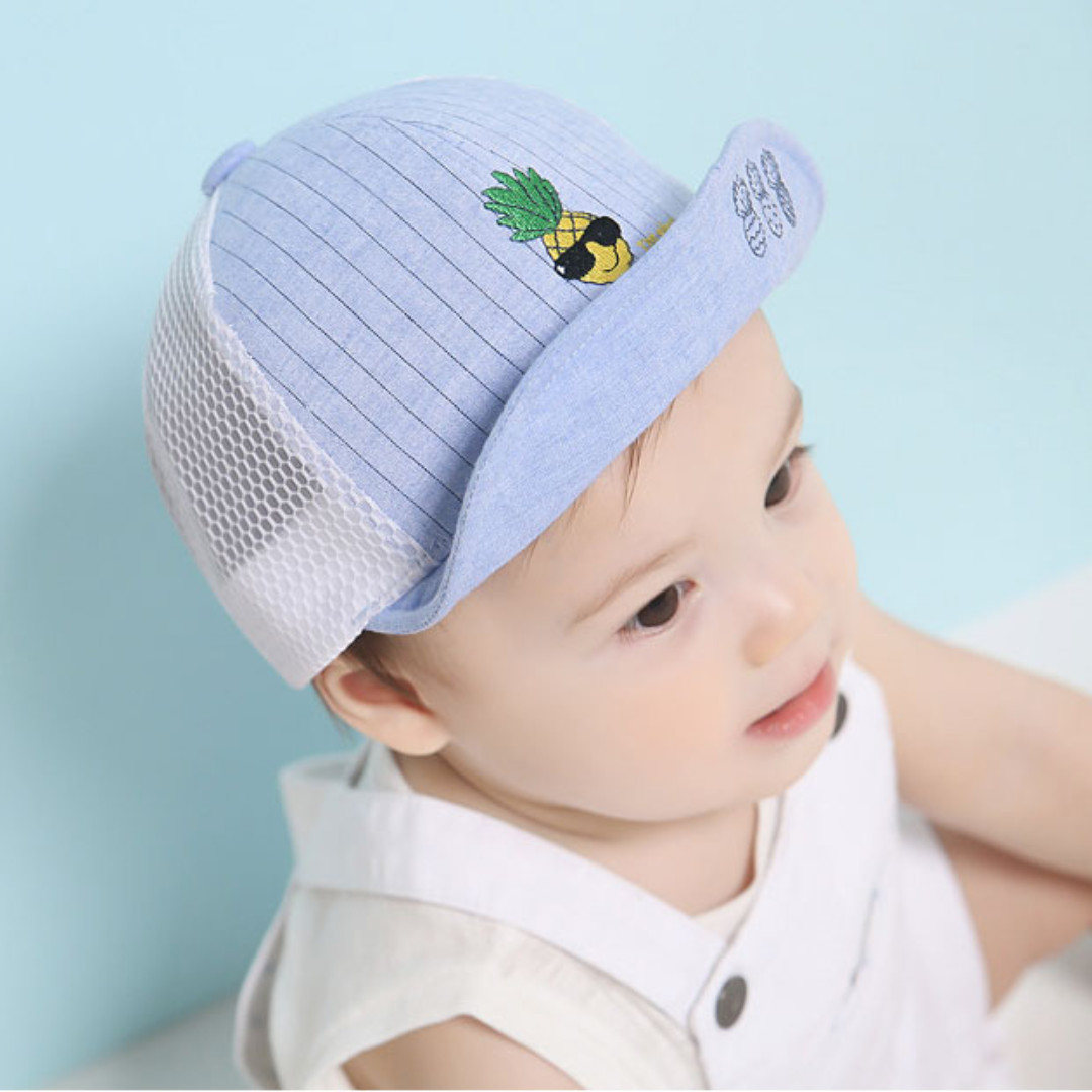 88e882de636a4 ✓️STOCK - PINEAPPLE EMBROIDERED BLUE CAP BABY BOY SUN HAT CHILDREN ...