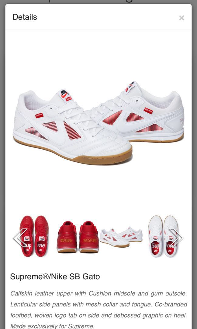 b8e5d312db7 Supreme Nike SB Gato Collaboration White Red