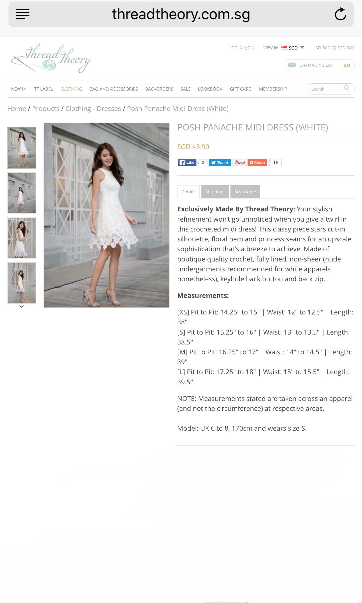 fb878ba28c The Thread Theory Posh Peneche Midi Dress White, Women's Fashion ...