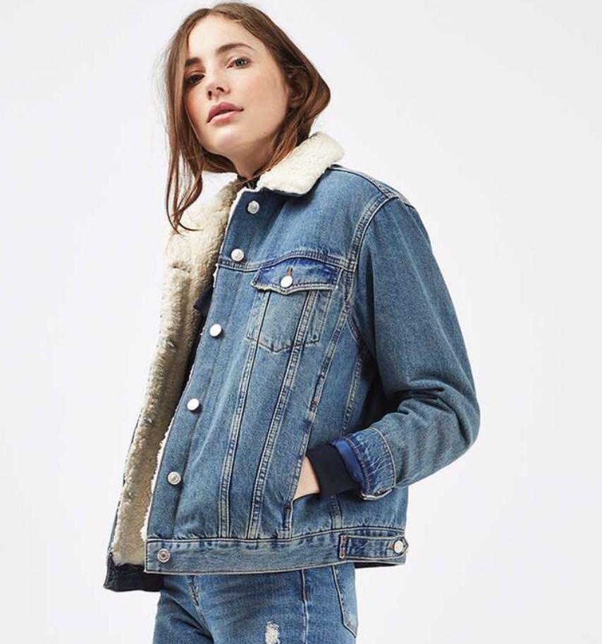 Topshop Shearling Denim Jacket : Jaket Jeans TopShop, Women's ...