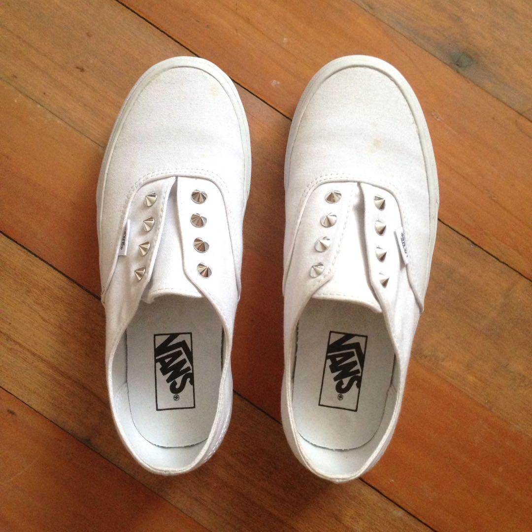 2507547195fc42 Vans white studded slip-ons