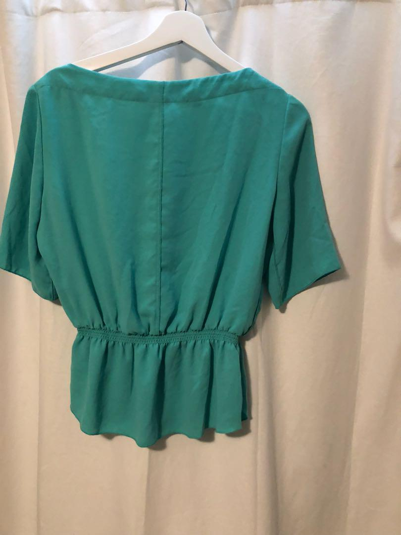 WILFRED GREEN SILK BLOUSE