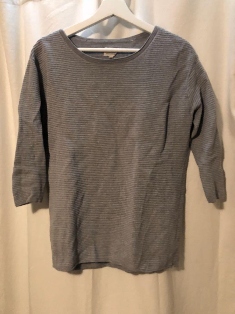 WILFRED RIBBED GREY SWEATER
