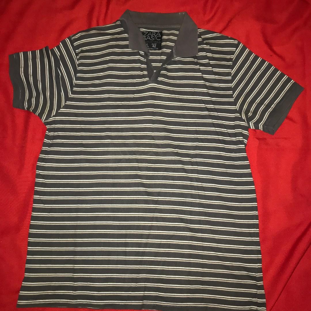 842cd61a ZARA Men Striped Polo tee size Xl see pic 4 measurements , Men's ...