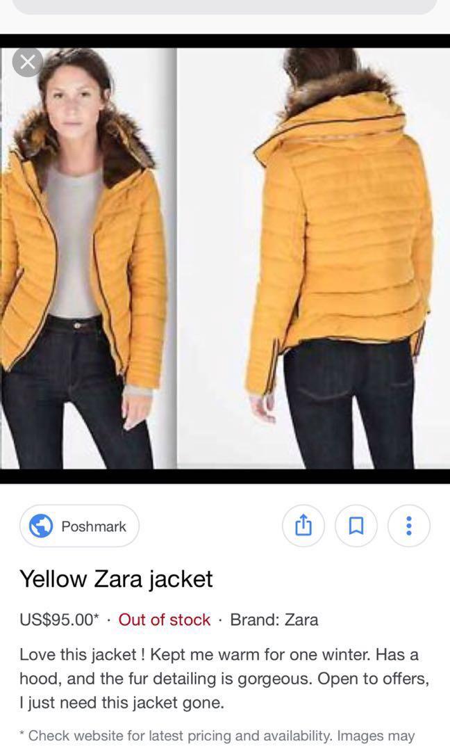 8d3fe20f Zara Zara Short Anorak W Fur Collar Puffer Jacket Mustard Yellow Thick  Jacket Pre Worn