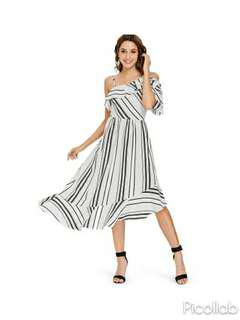 [PO] One Shoulder Black & White Striped Midi Beach Dress