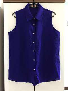 New plus size royal blue chiffon button down blouse