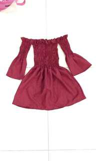 BNWOT Deep Red/ Burgandy Smocked Off Shoulder Tube Top with Bell/ Trumpet Sleeves
