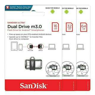 ORI💯SanDisk Ultra Dual OTG Drive™ M3.0 2in1 16GB/32GB/64GB